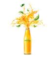 3d orange juice splash flowing liquid vector image vector image