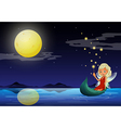 A fairy in a boat holding a wand vector image vector image
