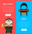 barbecue party flyers with meats on grill vector image