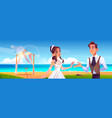 beach wedding ceremony with newlywed couple vector image vector image