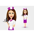 beautiful waitress holding serving vector image vector image