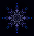 blue neon snowflake on a vector image
