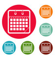 calendar office icons circle set vector image vector image