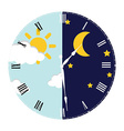 clock day and night concept vector image vector image