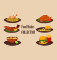 collection of dishes soup salad pasta with vector image vector image