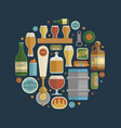 craft beer items creative set in circle vector image