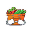 crying fruit basket character cartoon vector image