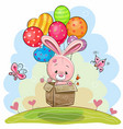 cute rabbit with balloons vector image vector image