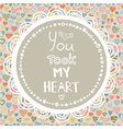 decorative pattern with hearts and quote vector image vector image