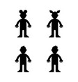 dolls little boy and girl black silhouette vector image