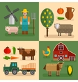 Flat Farm Compositions vector image vector image