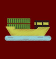 flat icon in shading style ship with containers vector image