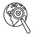 global market search icon outline style vector image