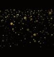 golden snowfall holiday decoration background new vector image