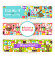 Happy Easter Template Banners Set Modern Flat vector image