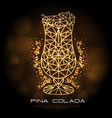 hipster polygonal cocktail pina colada neon sign vector image vector image