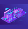 innovative smart city neon isometric vector image vector image