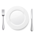 Knife fork white plate vector image