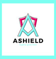 letter a shield logo vector image