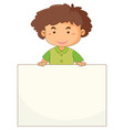 little boy holding blank paper vector image vector image