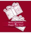 Merry Christmas card on paper with gifts vector image vector image
