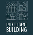 modern intelligent building banner outline style vector image vector image