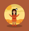 native american indian character female with vector image vector image