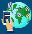 online money transfer via phone all over the world vector image