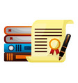 parchment diploma graduation with books and pen vector image