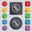 percentage discount icon sign A set of 12 colored vector image vector image