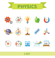Physics flat con set vector image vector image