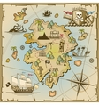 Pirate treasure island map vector image vector image