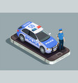 police isometric concept vector image vector image