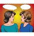 Pop art retro comic Two woman vector image vector image