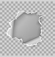 ragged hole torn in ripped sheet paper vector image vector image