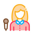 reporter woman icon outline vector image