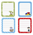 Set of cute creative cards with pirate and pirate vector image vector image