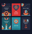 Set of marine cards vector image vector image