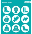 set of round icons white Winter clothes shoes vector image vector image