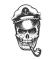 skull in captain cap vector image vector image
