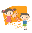 small kids with hand puppet toy vector image vector image