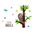 south america welcome banner with sloth flowers vector image
