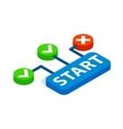 Start button icon isometric 3d style vector image vector image