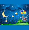 surreal landscape with hanging moon and bicycle vector image vector image