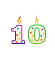 ten years anniversary 10 number shaped birthday vector image vector image