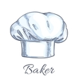 White baker toque or chef hat sketch vector image vector image