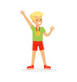 young boy with a first place medal kid vector image vector image