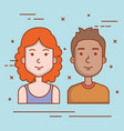 young couple avatars characters portrait people vector image vector image