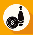 bowling icon on white circle with a long shadow vector image