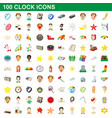100 clock icons set cartoon style vector image